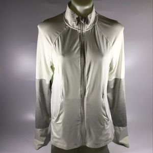 White zip up jacket large semi fitted Danskin